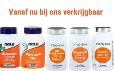 Vanaf nu bij ons verkrijgbaar: voedingssupplementen van VitOrtho enNOW